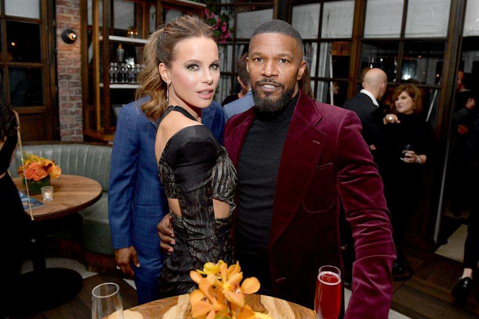 WEST HOLLYWOOD, CALIFORNIA - NOVEMBER 14: (L-R) Kate Beckinsale and Jamie Foxx attend the Hollywood Foreign Press Association and The Hollywood Reporter Celebration of the 2020 Golden Globe Awards Season and Unveiling of the Golden Globe Ambassadors at Catch on November 14, 2019 in West Hollywood, California. (Photo by Matt Winkelmeyer/Getty Images for The Hollywood Reporter)