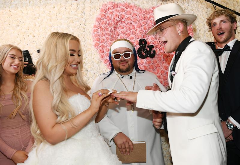 Influencers Jake Paul and Tana Mongeau charged fans to watch them tie the knot [Photo: Getty]