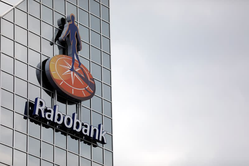 The Rabobank logo is seen at its headquarters in Utrecht