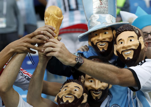 Argentina fans support their team prior to the start of the group D match between Argentina and Croatia at the 2018 soccer World Cup in Nizhny Novgorod Stadium in Novgorod, Russia, Thursday, June 21, 2018. (AP Photo/Pavel Golovkin)