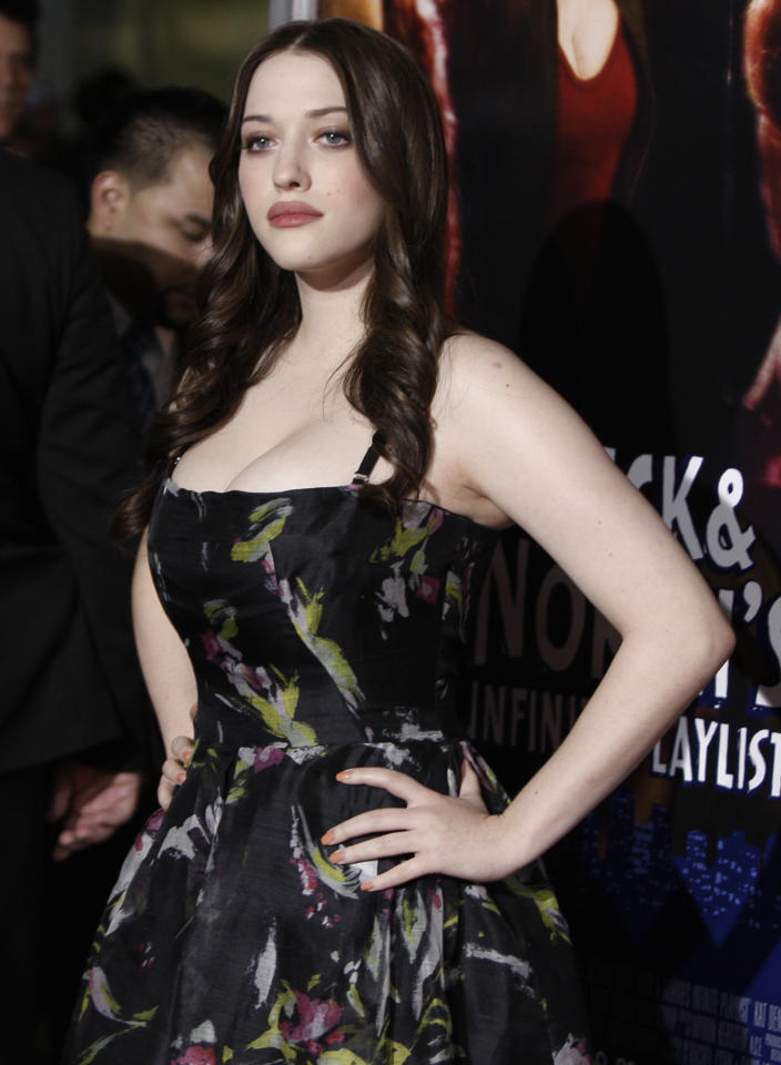 "Kat Dennings arrives at the premiere of ""Nick and Norah's Infinite Playlist"" in Los Angeles on Thursday, Oct. 2, 2008.  (AP Photo/Matt Sayles)"