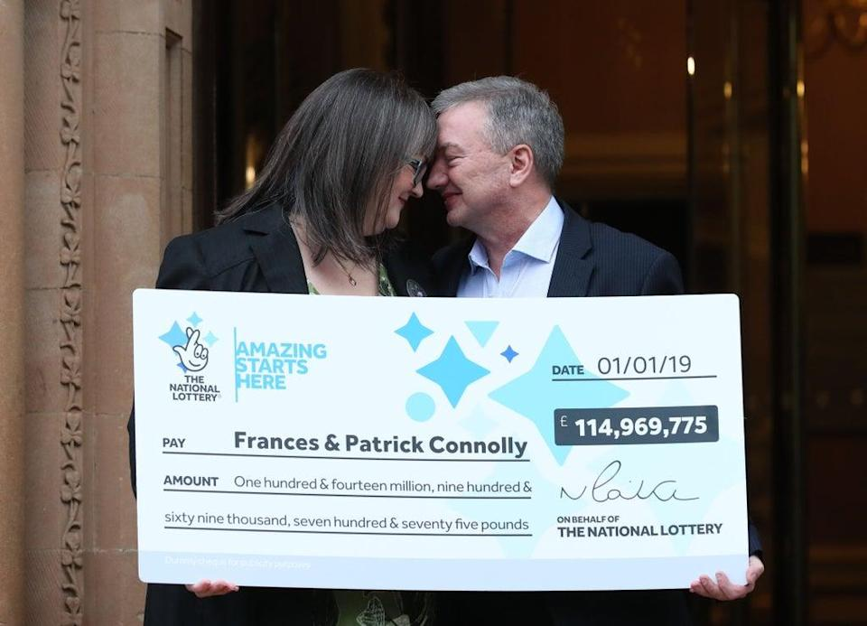 Frances and Patrick Connolly, who scooped a £115 million EuroMillions jackpot (Liam McBurney/PA) (PA Archive)