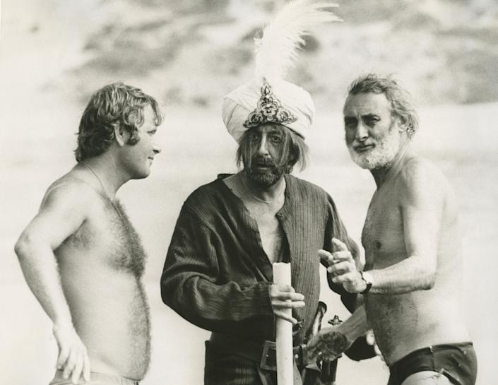 """Peter Medak, left, Peter Sellers and Spike Milligan on the set of """"Ghost in the Noonday Sun."""" <span class=""""copyright"""">(1091)</span>"""