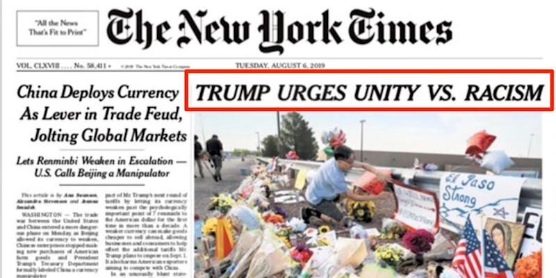 The New York Times' first edition on Tuesday bearing the widely-condemned headline.