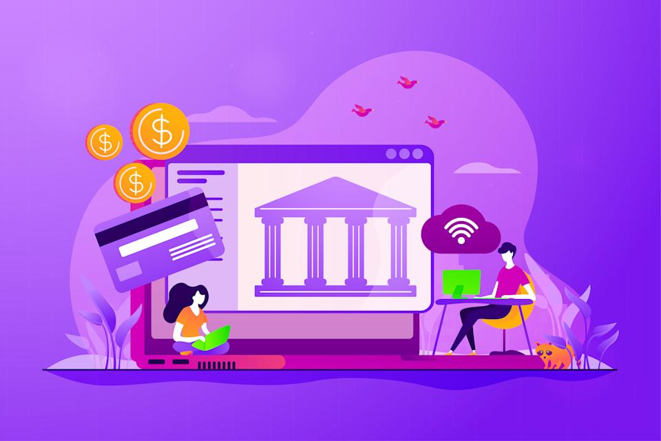 Online payment protection system. Secure bank transaction. Open banking platform, online banking system, finance digital transformation concept. Vector isolated concept creative illustration