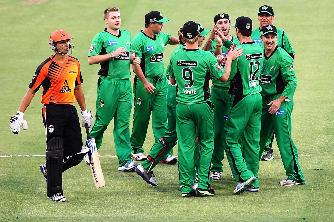 PERTH, AUSTRALIA - DECEMBER 12:  Marcus Stoinis of the Scorchers leaves the field after being bowled by Lasith Malinga of the Stars during the Big Bash League match between the Perth Scorchers and the Melbourne Stars at WACA on December 12, 2012 in Perth, Australia.  (Photo by Will Russell/Getty Images)