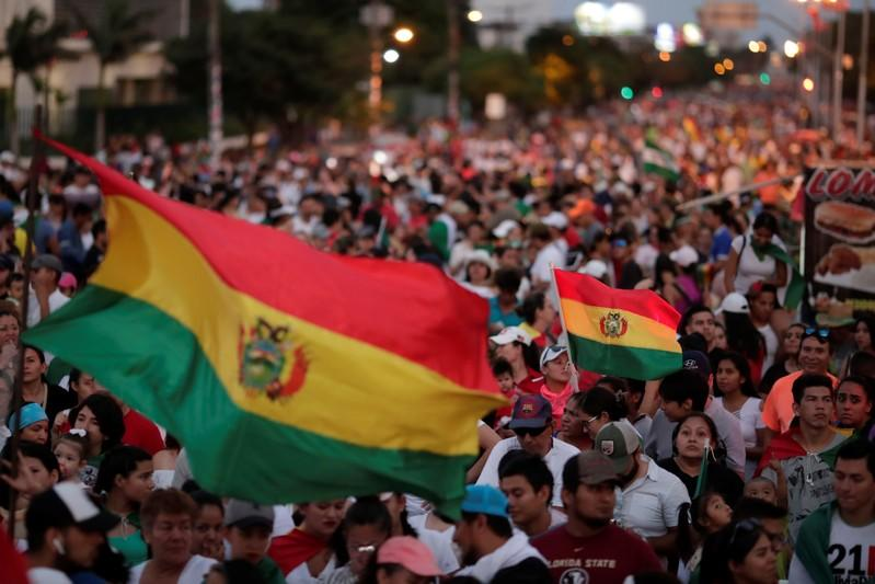 People take part in a protest against Bolivia's President Evo Morales and the election results, in Santa Cruz de la Sierra