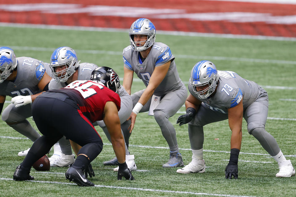 Matthew Stafford and the Lions got the benefit of a peculiar call. (Photo by Kevin C. Cox/Getty Images)
