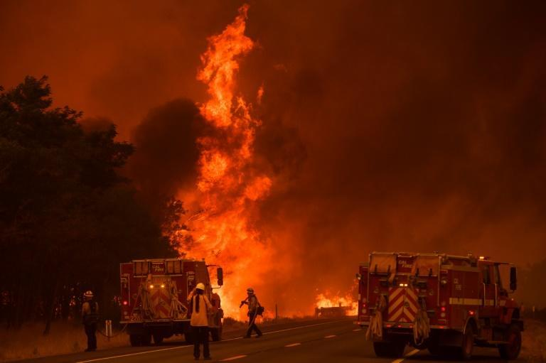 Thousands of firefighters are battling blazes throughout California as voters go to the polls to decide on whether or not to recall Governor Gavin Newsom (AFP/Patrick T. FALLON)