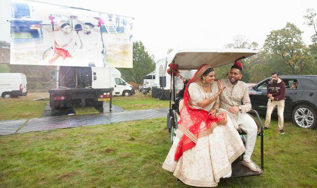Coronavirus: Couple get married in front of 200 guests by having a drive-in wedding