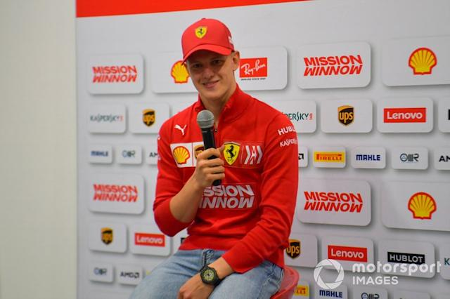 """Mick Schumacher, Ferrari in conferenza stampa <span class=""""copyright"""">Jerry Andre / Sutton Images</span>"""