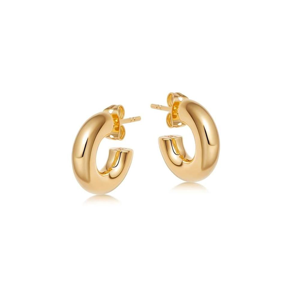 """Chunky hoops are one of the world's best inventions IMO. I normally classify myself as a silver jewellery person but for summer I'm leaning into glistening gold, starting with these chubby beauties. <br><br><strong>Missoma</strong> Mini Chubby Hoop Earrings, $, available at <a href=""""https://uk.missoma.com/products/chubby-mini-hoop-earrings?variant=39356245442663"""" rel=""""nofollow noopener"""" target=""""_blank"""" data-ylk=""""slk:Missoma"""" class=""""link rapid-noclick-resp"""">Missoma</a>"""