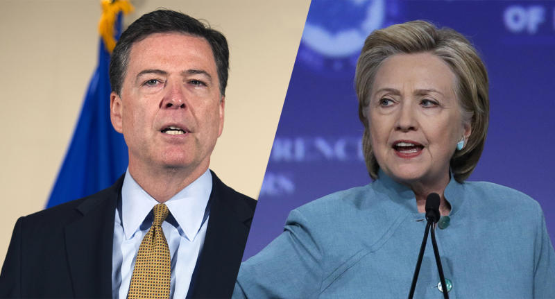 FBI Director James Comey makes a statement at FBI Headquarters on Tuesday; Hillary Clinton addresses the the U.S. Conference of Mayors last week. (Photos: Michael Conroy/AP, Cliff Owen/AP)