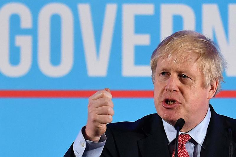 Boris Johnson delivers his victory speech in London: AFP via Getty Images