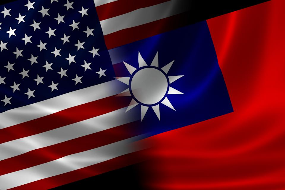 Merged US and Taiwanese flag on satin texture. Concept of the long historical and political relations between the two countries.