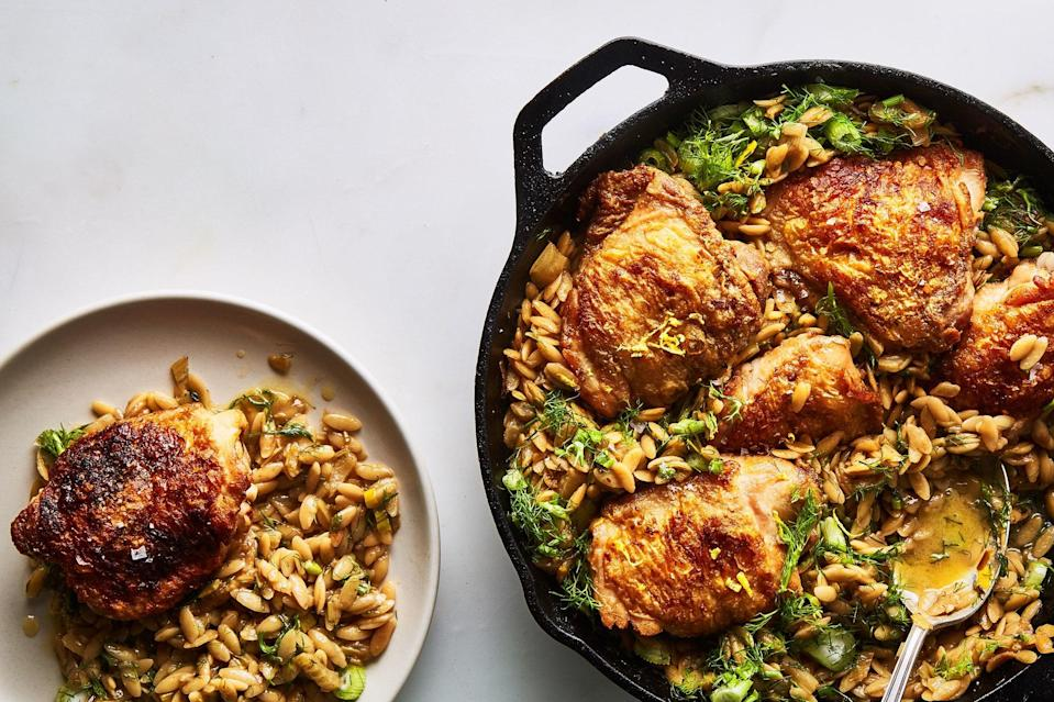 """Why use a bunch of pots and pans when fennel, orzo, and chicken can be cooked in one? <a href=""""https://www.epicurious.com/recipes/food/views/one-skillet-baked-chicken-thighs-with-orzo-and-fennel?mbid=synd_yahoo_rss"""" rel=""""nofollow noopener"""" target=""""_blank"""" data-ylk=""""slk:See recipe."""" class=""""link rapid-noclick-resp"""">See recipe.</a>"""