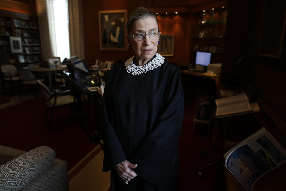 Ginsburg in her chambers at the Supreme Court. (Photo: Charles Dharapak/AP)
