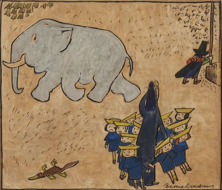 """A reproduction of the image """"The little girls all cried 'Boo-hoo!'"""" from the book Madeline and the Bad Hat is shown in this undated handout image"""