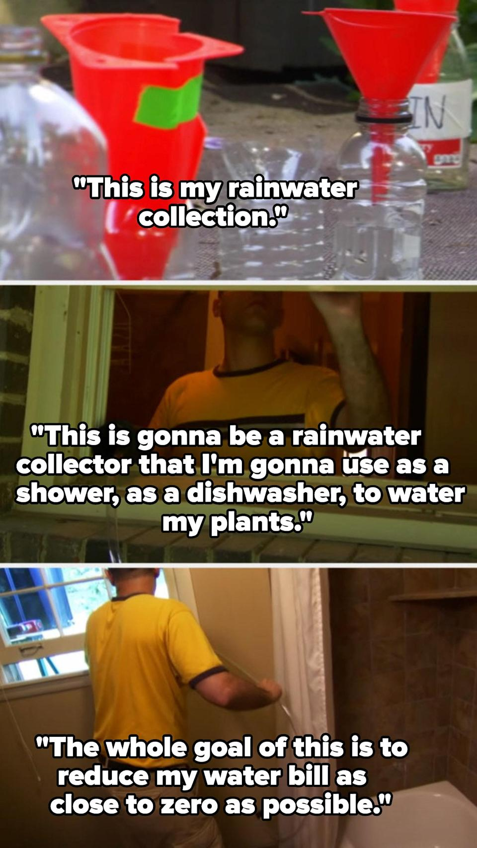 A man setting up water bottles in his backyard to catch rain and funneled through a tube into his bathroom