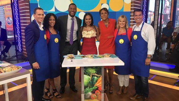 PHOTO: 'Family Food Fight' host Ayesha Curry, center, appears on 'Good Morning America,' June 18, 2019. (ABC News)