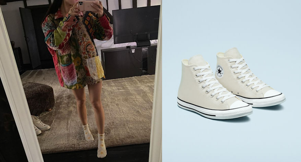 Ariana Grande posed for a selfie with a pair of Converse All Star High Top Sneakers. Images via Instagram/ArianaGrande, Converse.
