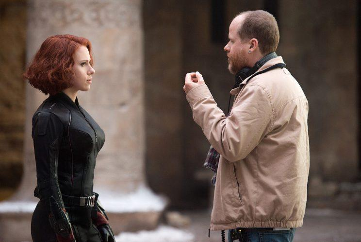 Scarlett Johansson and Joss Whedon on the set of 'Age of Ultron' (Photo: Jay Maidment/Marvel 2015)