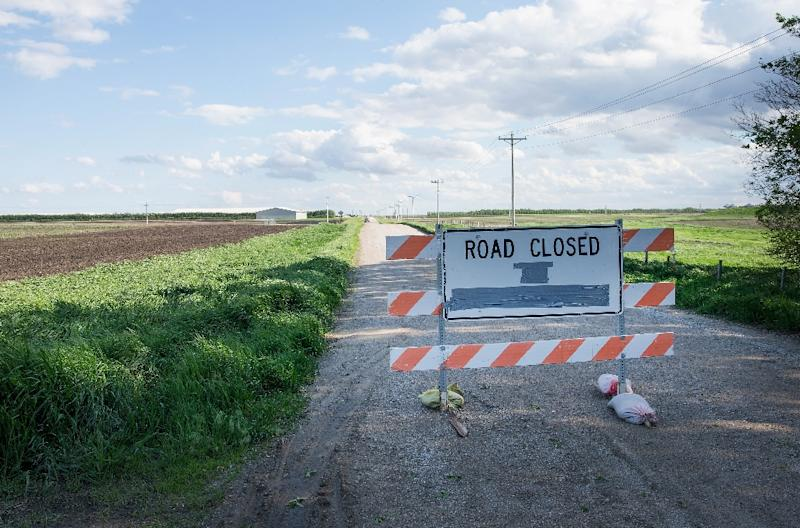 A barricade sits in the road leading to a farm operated by Daybreak Foods, which has been hit with a highly pathogenic strain of avian flu, near Eagle Grove, Iowa on May 17, 2015 (AFP Photo/Scott Olson)
