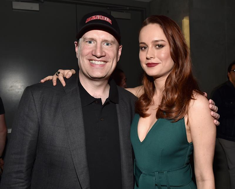 SAN DIEGO, CA - JULY 23: Marvel Studios president and producer Kevin Feige (L) and actress Brie Larson announced as Captain Marvel/Carol Danvers attend the San Diego Comic-Con International 2016 Marvel Panel in Hall H on July 23, 2016 in San Diego, California. ©Marvel Studios 2016 (Photo by Alberto E. Rodriguez/Getty Images for Disney)