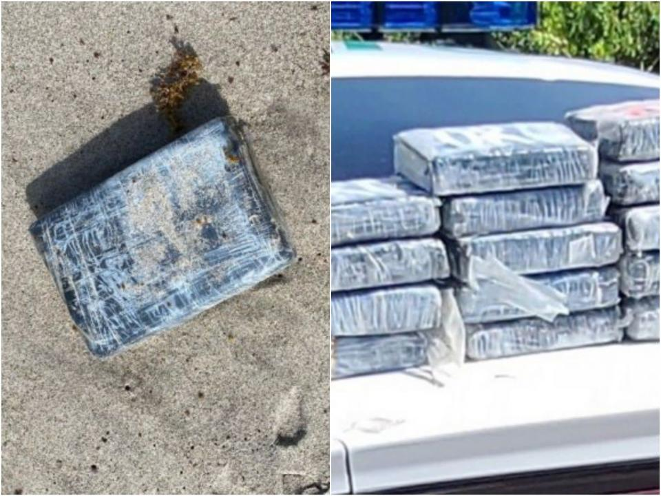 A total of 24 packages of cocaine were washed ashore on a beach on Florida's eastern coast.  (Space Launch Delta 45)