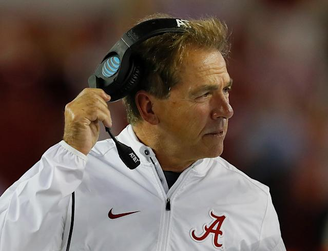 "TUSCALOOSA, AL – SEPTEMBER 30: Head coach Nick Saban of the <a class=""link rapid-noclick-resp"" href=""/ncaab/teams/aaf/"" data-ylk=""slk:Alabama Crimson Tide"">Alabama Crimson Tide</a> looks on during the game against the Mississippi Rebels at Bryant-Denny Stadium on September 30, 2017 in Tuscaloosa, Alabama. (Photo by Kevin C. Cox/Getty Images)"