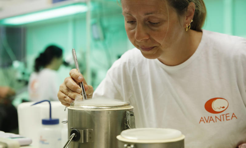 FILE - In this Sunday, Aug. 25, 2019 file photo, a researcher works at the Avantea laboratory inseminating eggs from the last two remaining female of northern white rhinos with frozen sperm from two rhino bulls of the same species, in Cremona, Italy. An international consortium of scientists and conservationists says they have succeeded in creating two embryos of the near-extinct northern white rhino, a milestone in assisted reproduction that may be a pivotal turning point in the fate of the species. The embryos were created in-vitro, using eggs collected from the two remaining females and frozen sperm from dead males, they said at a news conference in the Italian northern city of Cremona on Wednesday, Sept. 11, 2019. (AP Photo/Antonio Calanni, File )