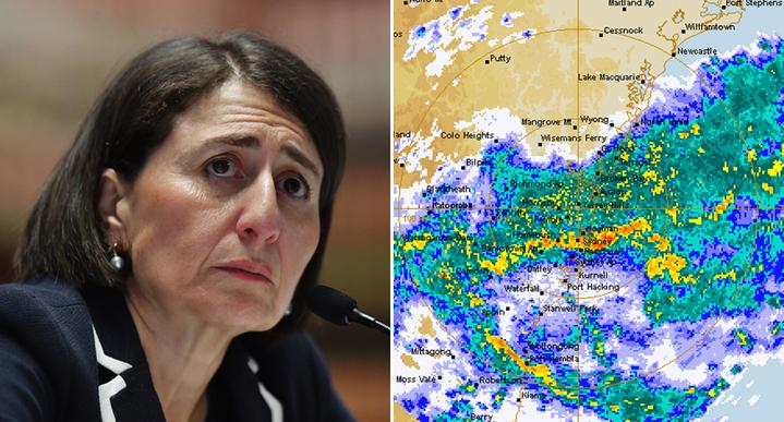 Gladys Berejiklin is pictured left and on the right is an image of the Bureau of Meteorology's rain radar.