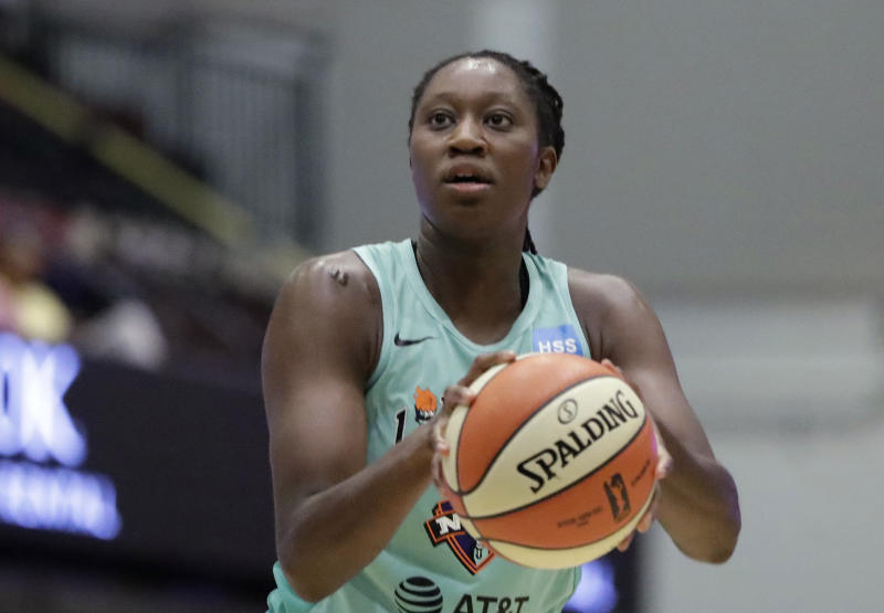 The Mystics will be depleted in the WNBA bubble after Tina Charles opts to skip the season. (AP Photo/Kathy Willens, File)
