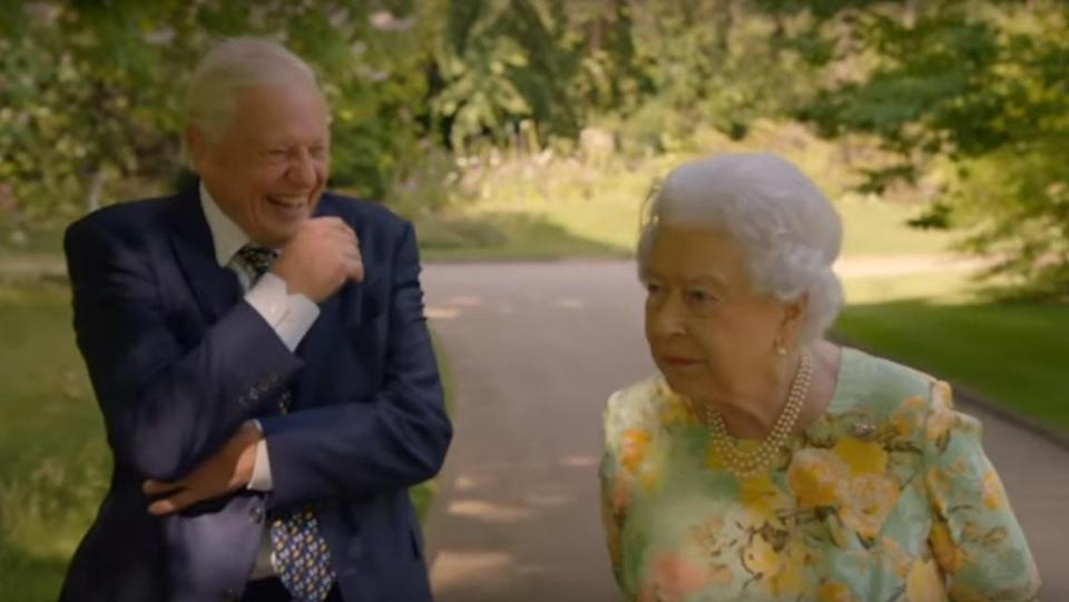 Sir David will spend some time with the Queen on his latest documentary. (ITV)