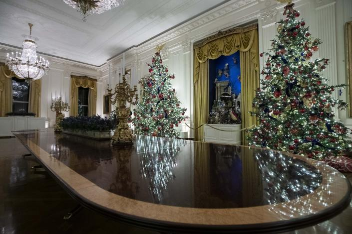 The East Room is decorated during the 2019 Christmas preview at the White House, Monday, Dec. 2, 2019, in Washington. | AP—Copyright 2019 The Associated Press. All rights reserved.