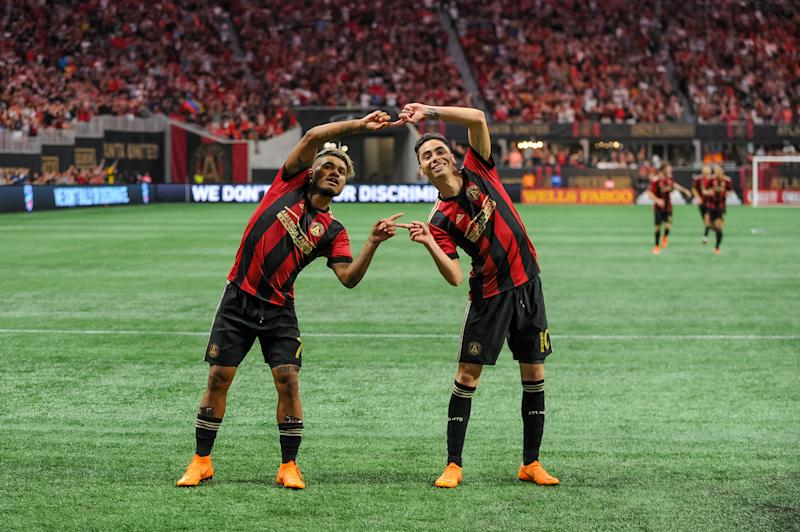 "Josef Martínez and Miguel Almirón's ""Fusion"" celebration from their Atlanta United days. (Photo by John Adams/Icon Sportswire via Getty Images)"