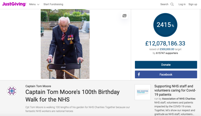 Donations on Captain Tom Moore's fundraising page topped £12m on Thursday morning. (Just Giving)