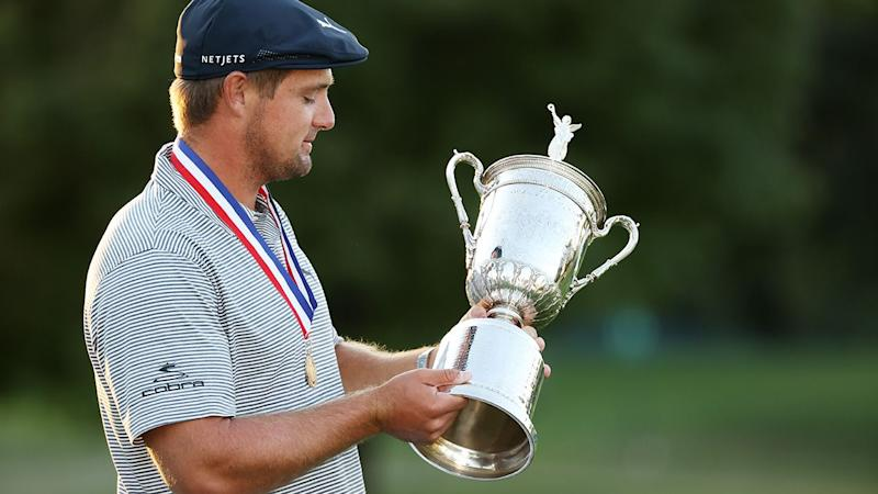 Bryson DeChambeau is seen here holding his 2020 US Open trophy.