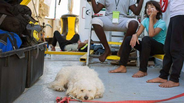A photo released on Sept. 25, 2018 shows a rescued migrant at the Aquarius rescue ship run by non-governmental organizations 'SOS Mediterranee' and 'Medecins Sans Frontieres' in the search and rescue zone off the coast of Libya, in the Mediterranean Sea. (Maud Veith/SOS Mediterranee via AFP/Getty Images)