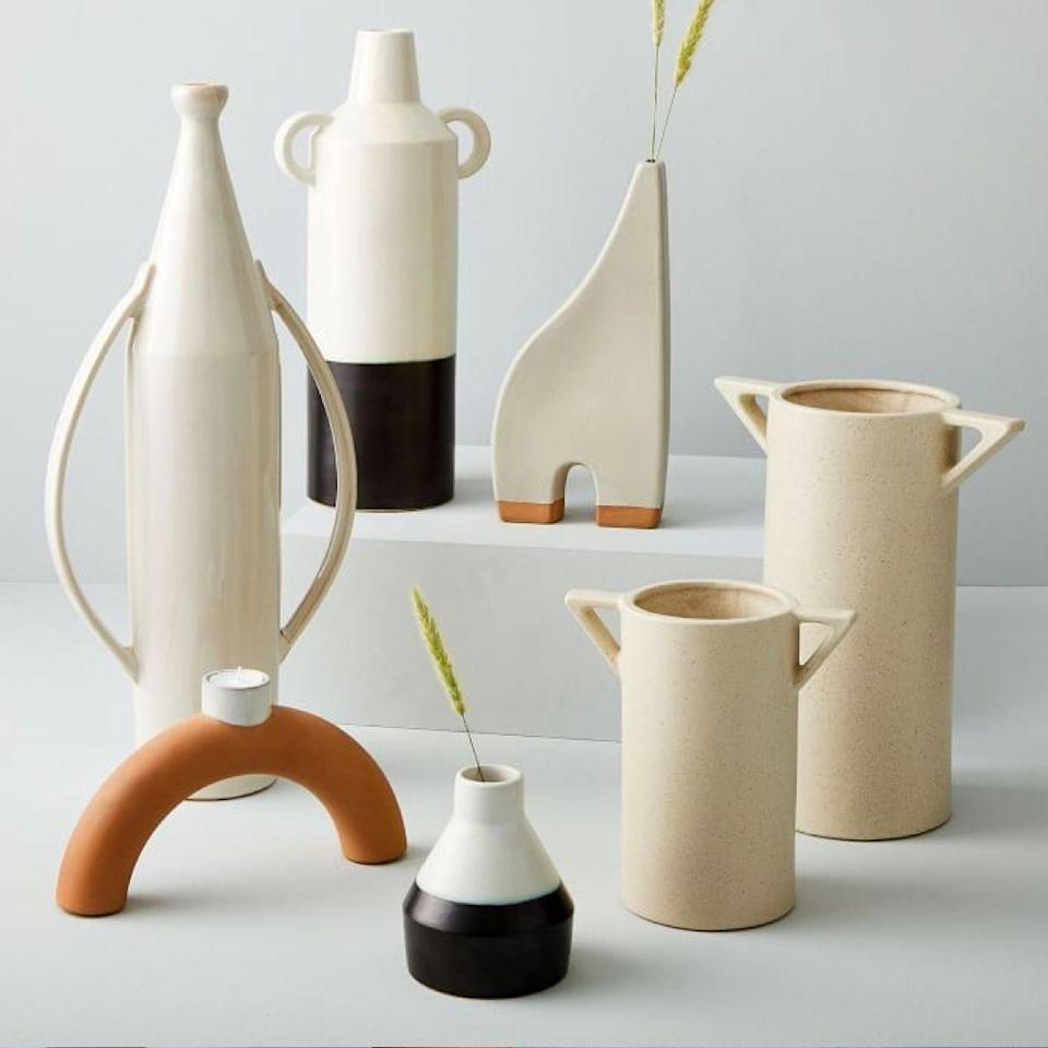 """With these earthenware pieces from West Elm, you can pick a shape, and shape—and finish it off with some chic stems. $13, West Elm. <a href=""""https://www.westelm.com/products/shape-studies-collection-d6540/"""" rel=""""nofollow noopener"""" target=""""_blank"""" data-ylk=""""slk:Get it now!"""" class=""""link rapid-noclick-resp"""">Get it now!</a>"""