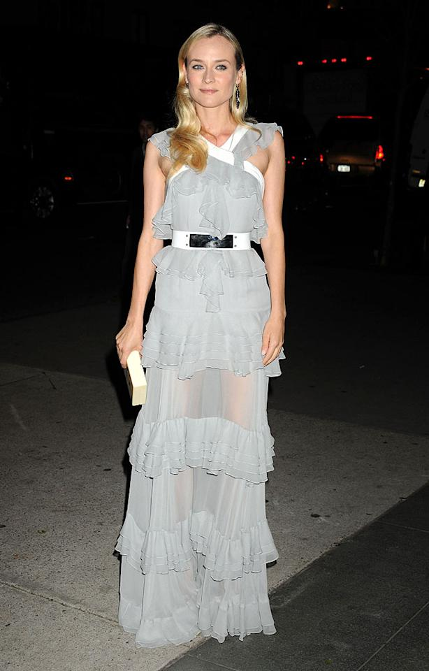 "Actress Diane Kruger (wearing a Prabal Gurung dress) arrives for the Museum of Modern Art Film Benefit ""A Tribute To Quentin Tarantino"", held the Museum of Modern Art (""MoMA"") in NYC.