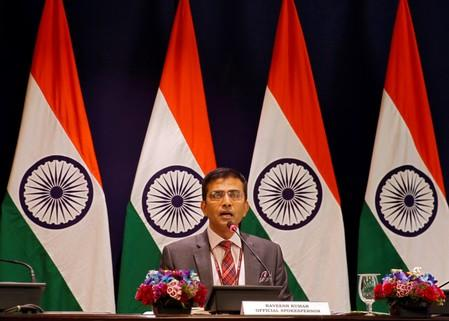 Raveesh Kumar, spokesman for the Indian Foreign Ministry, speaks during a media briefing in New Delhi