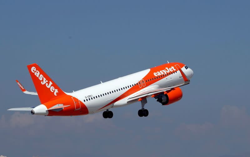FILE PHOTO: The easyJet Airbus A320-251N takes off from Nice international airport in Nice, France