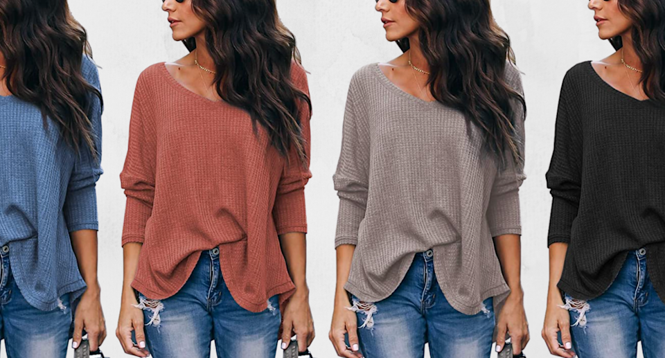 This best-selling plus-size sweater has over 5,900 reviews — and it's less than $25 (Photos via Amazon)