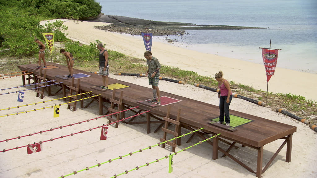 "Abi-Maria Gomes, Denise Stapley, Michael Skupin, Malcolm Freberg and Lisa Whelchel line up before the Immunity Challenge in the ""Survivor: Philippines"" episode, ""Gouge My Eyes Out."""