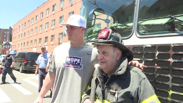 Decades after he retired, Sal Reale was able to cross an item off his bucket list this week by returning to his former firehouse in New York City where he was also surprised by members of his favorite baseball team.