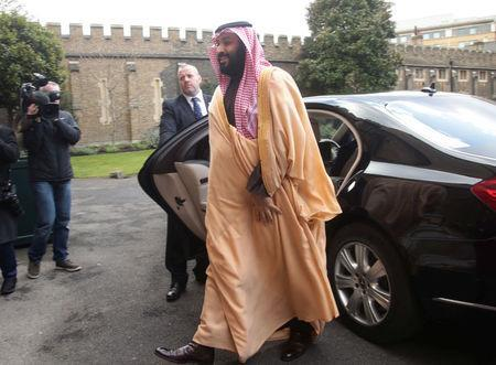 FILE PHOTO: The Crown Prince of Saudi Arabia Mohammed bin Salman arrives at Lambeth Palace, London, Britain, March 8, 2018. REUTERS/Yui Mok/Pool
