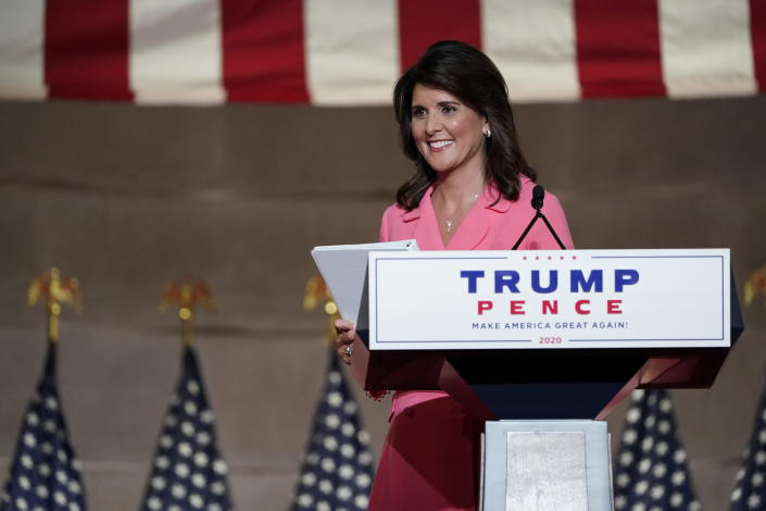 Former U.N. Ambassador Nikki Haley leaves after speaking during the Republican National Convention from the Andrew W. Mellon Auditorium in Washington, Monday, Aug. 24, 2020. (AP Photo/Susan Walsh)