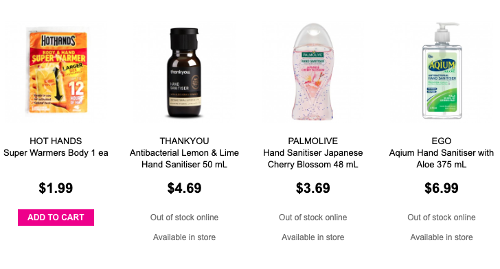 Priceline has sold out of several hand sanitiser products. Image: Priceline