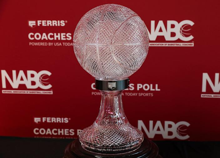 The Ferris Mowers NABC National Championship Trophy sits on display in Houston before a January 31 game between the Houston Cougars and the Southern Methodist Mustangs.
